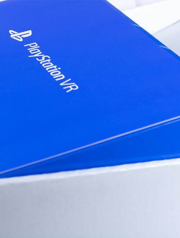 Sony Playstation VR inner box, that is blue.