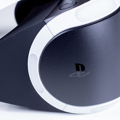 Side view of the Sony Playstation VR headset.