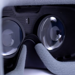 Samsung Gear VR - inside view of the headset with lenses showing.