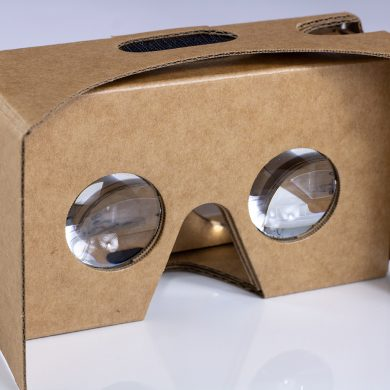 Lenses of the Google Cardboard VR headset, front.