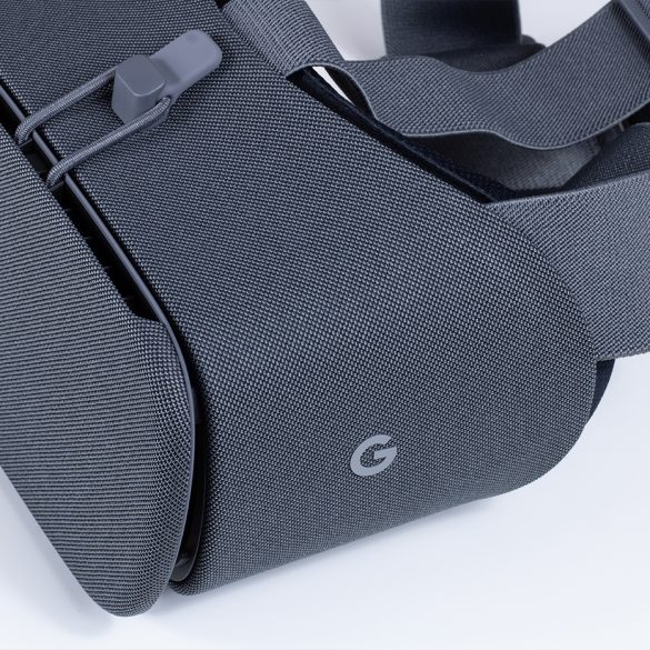 Side on of the Google Daydream View headset, with Google logo.