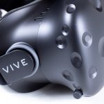 HTC Vive headset showing the side view.