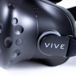 Side view of the HTC Vive VR headset.
