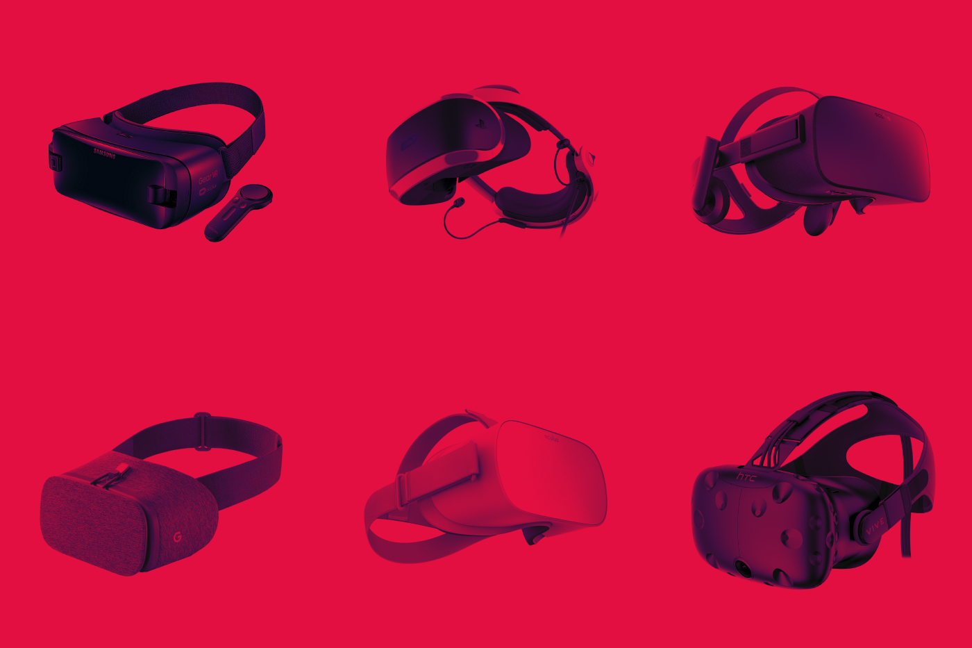 Best VR Headset - A few of the best VR headsets shown on a red background.