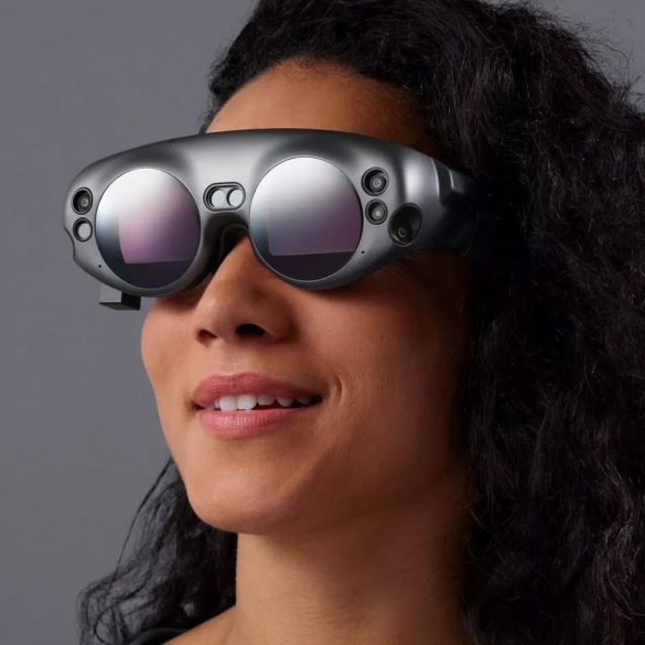 Woman wearing a Magic Leap One headset, looking forward.