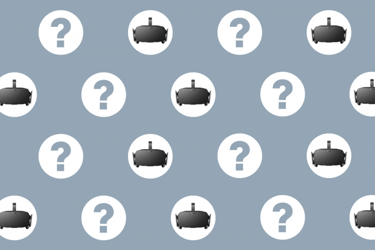 Oculus Rift Frequently Asked Questions with question marks on grey pattern.
