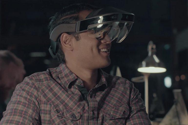 Meta 2 Headset - Man smiling wearing the headset.