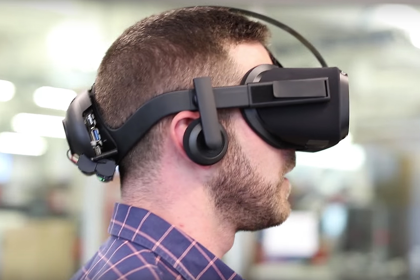Oculus Santa Cruz Headset Prototype - worn by a man, closeup.