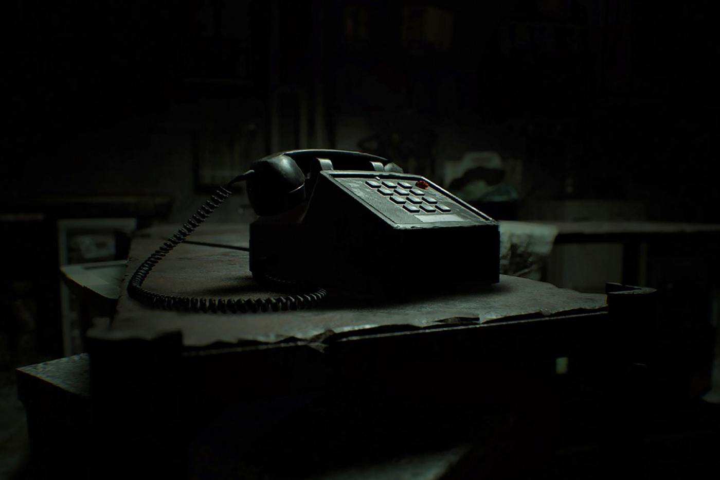 Telephone on table in the game, Resident Evil Biohazard in VR